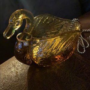 Vintage Amber Indiana glass swan jewelry dish